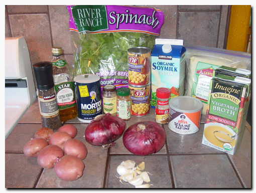 ingredients for chick-pea soup