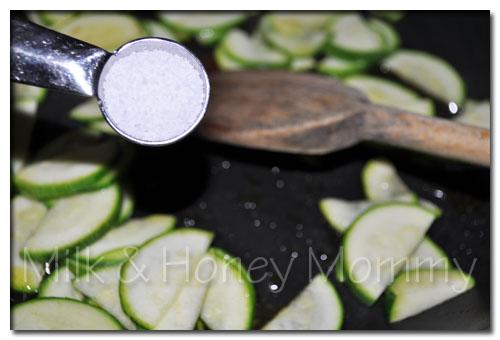 zucchini and kosher salt