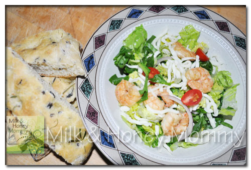 rosemary focaccia bread and a light salad