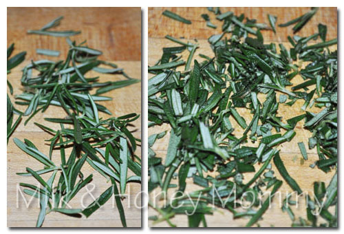 chopping fresh rosemary