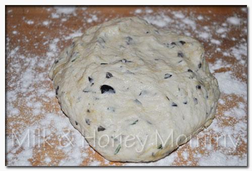 kneading focaccia dough
